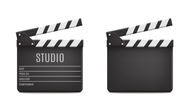 Realistic opened movie film clap board icon set closeup isolated on transparent Premium Vector