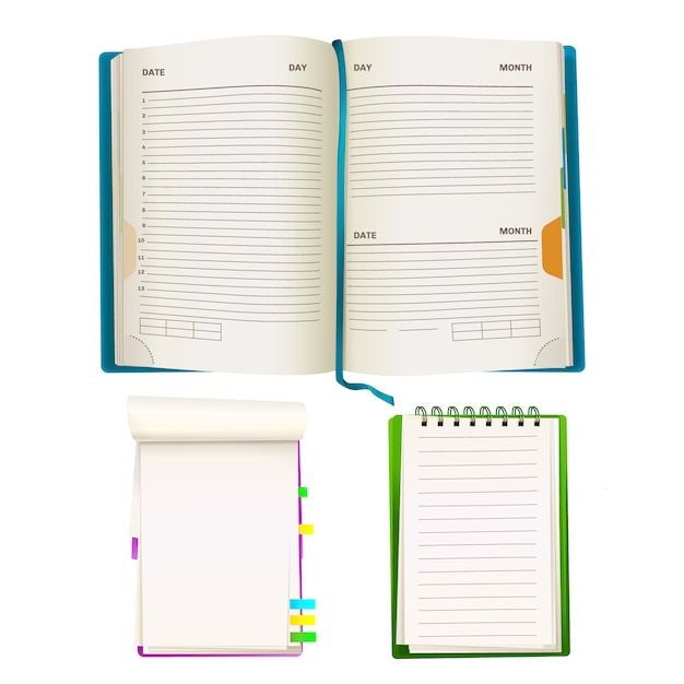 Realistic opened notepad organizer planners with blank paper sheets, spiral binders Free Vector