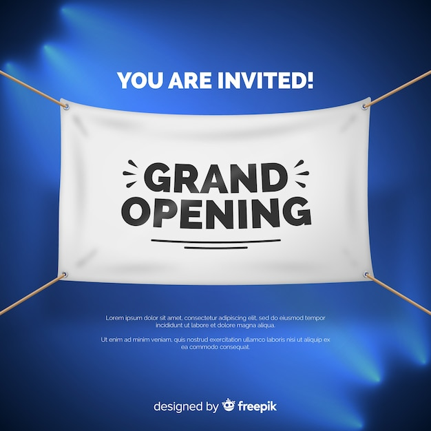 Realistic opening soon banner template Free Vector