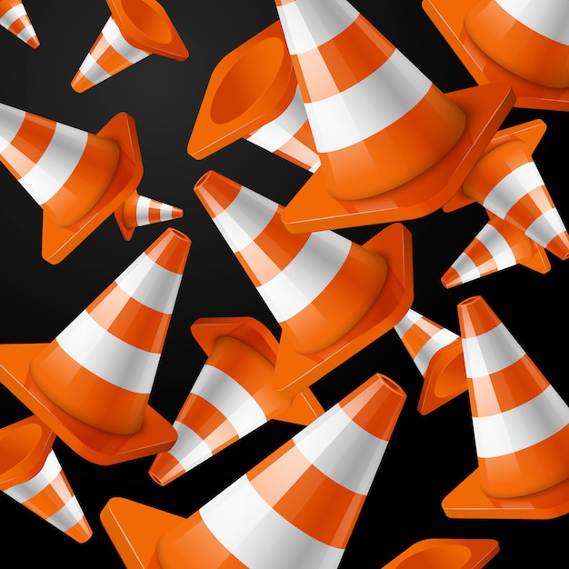 Realistic , orange falling road cones  stripes on black . Premium Vector