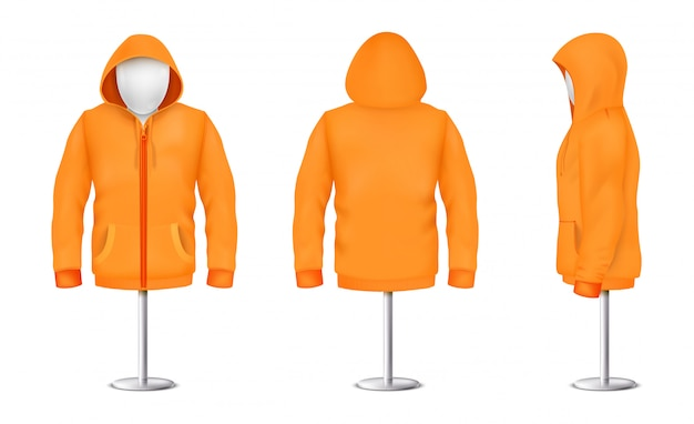 Realistic orange hoodie with zipper on mannequin and metal pole, casual unisex model Free Vector