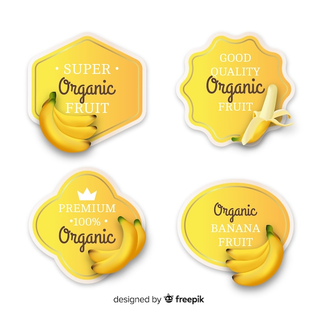 Realistic organic banana label set Free Vector