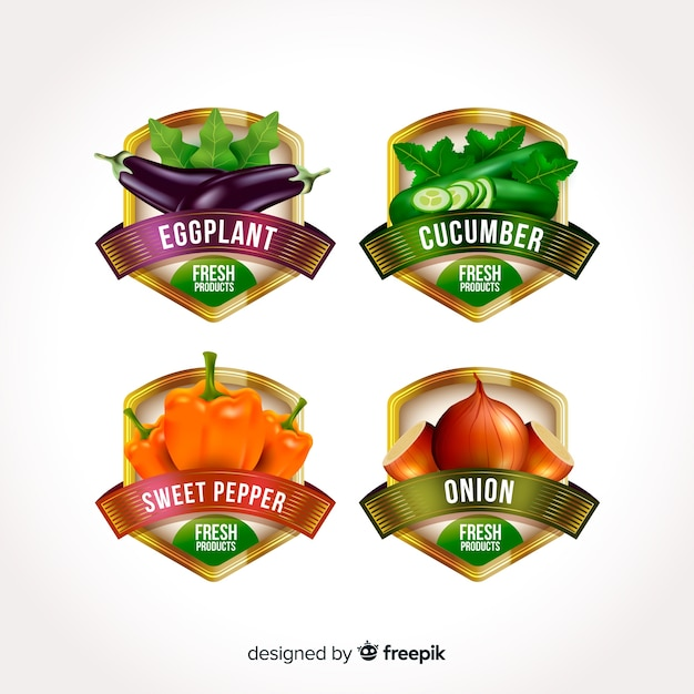 Realistic organic food labels Free Vector