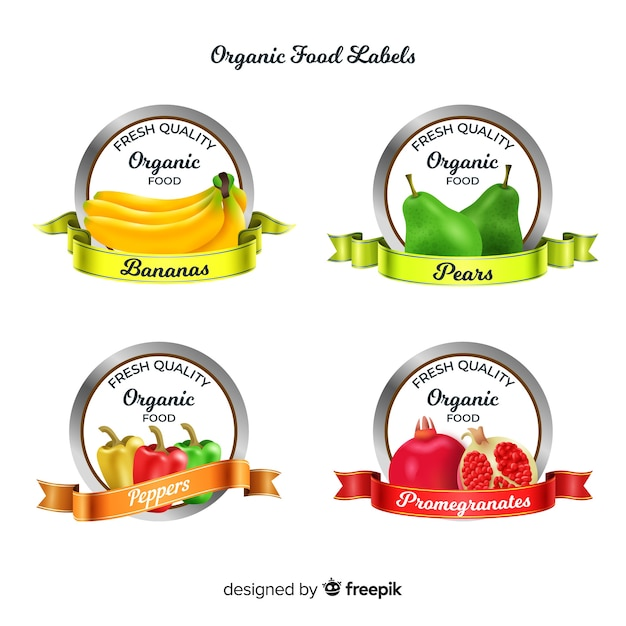 Realistic organic fruit label set Free Vector