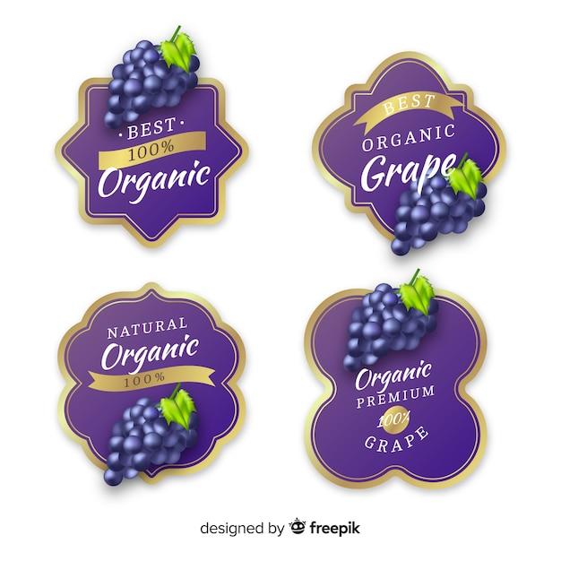 Реалистичные органические виноградные этикетки Бесплатные векторы