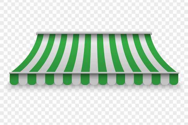 Realistic outdoor awning for cafe and shop Premium Vector