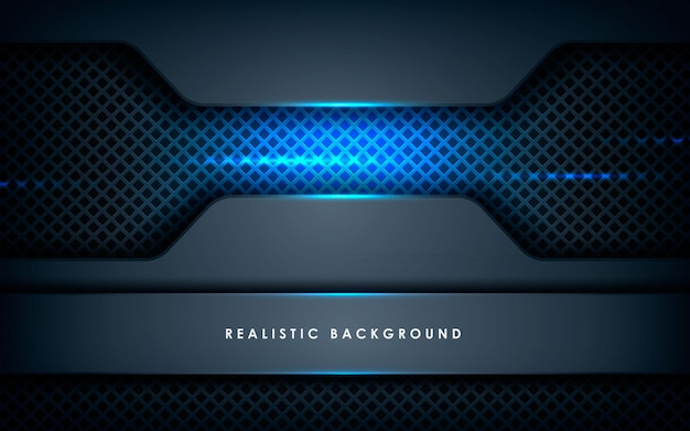 Realistic overlap layers texture with blue lights Premium Vector