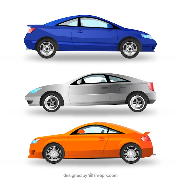 Realistic pack of modern cars Free Vector