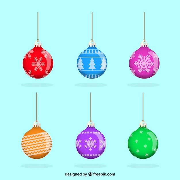 Colorful Christmas Balls.Realistic Pack Of Colorful Christmas Balls Stock Images
