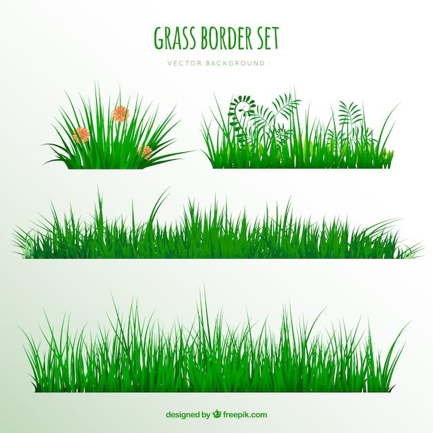 Реалистичная пакет больших границ травы Premium векторы