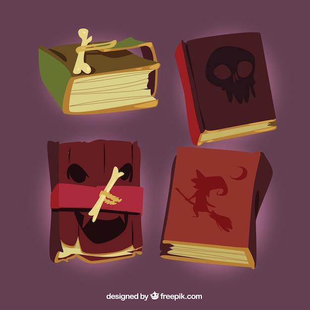Realistic pack of halloween magic books
