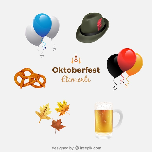Realistic pack of oktoberfest elements