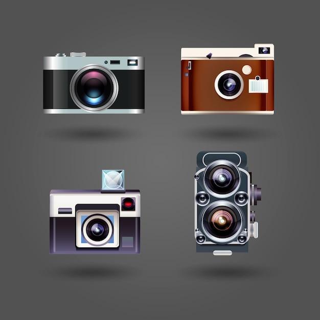 Realistic pack of vintage cameras