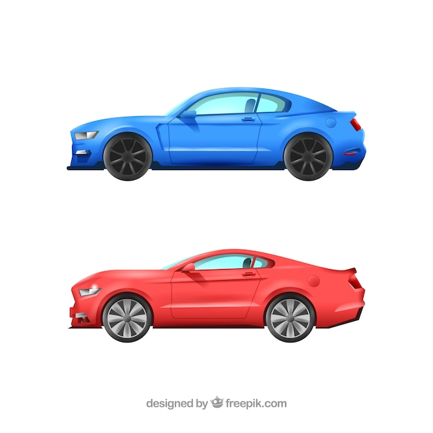 Realistic pack of sports cars Free Vector