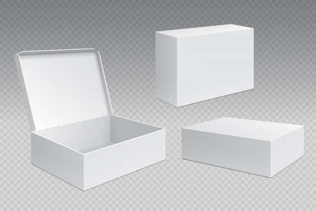 Realistic packaging boxes. white open cardboard pack, blank merchandising products . carton square container template Premium Vector
