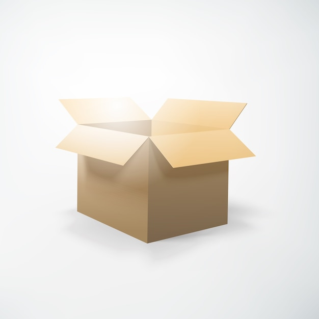 Realistic packing concept with opening cardboard box on white  isolated Free Vector