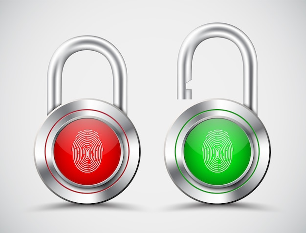 Realistic padlocks with a fingerprint to open them on the red and green display Premium Vector