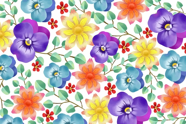 Realistic painted floral background Free Vector