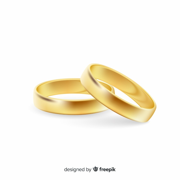Realistic pair of golden wedding rings Free Vector