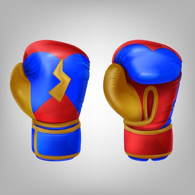 Realistico paio di guantoni da boxe in pelle colorata Vettore gratuito