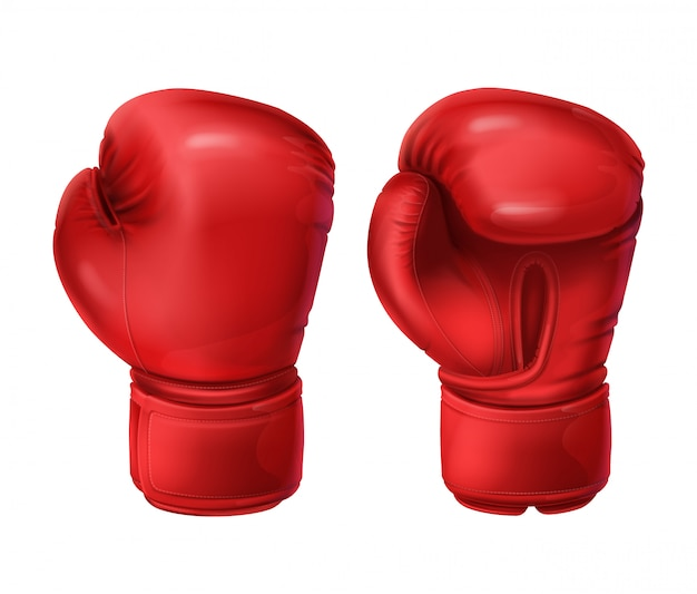Realistic pairs of red boxing gloves Free Vector