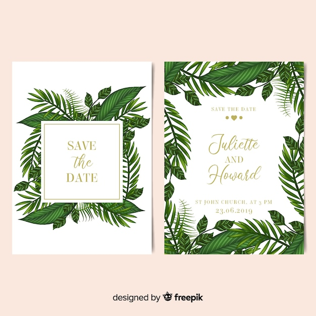 Realistic Palm Leaves Frame Wedding Invitation Template Vector