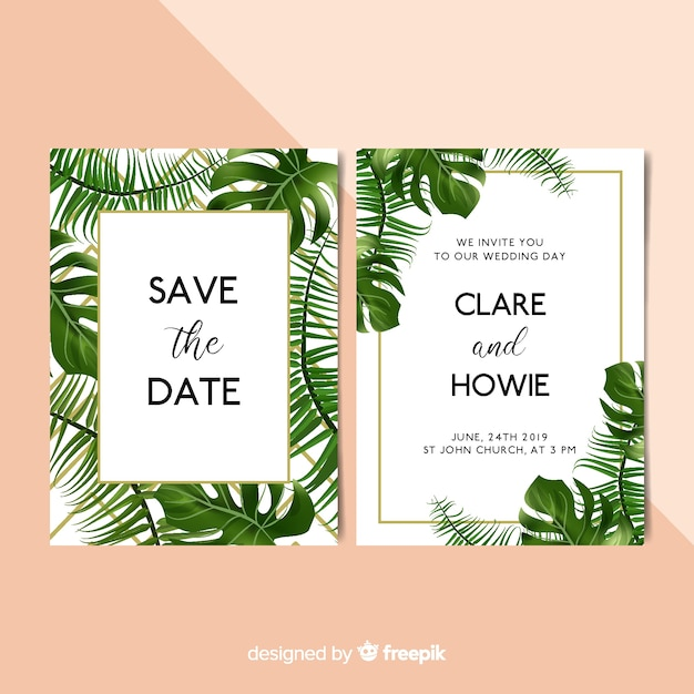 Realistic palm leaves wedding invitation template Free Vector