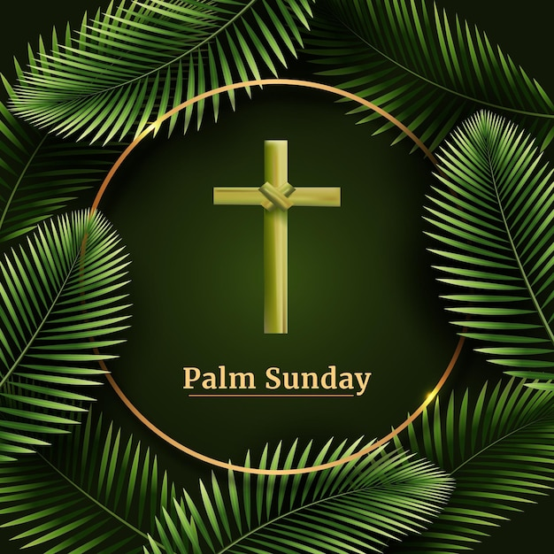 Realistic palm sunday illustration Free Vector