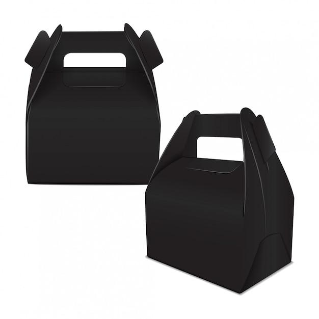 リアルなペーパーケーキパッケージ、ブラックボックスのセット、ハンドル付きギフト容器。フードボックステンプレートを奪う Premiumベクター