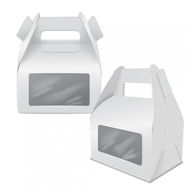 現実的な紙のケーキパッケージ、ホワイトボックスのセット、ハンドルとウィンドウのギフト容器。フードボックステンプレートを奪う Premiumベクター