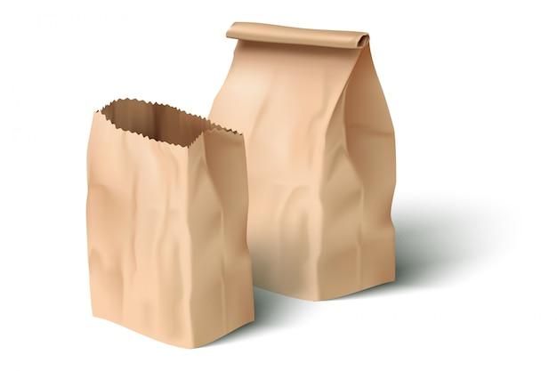 Realistic paper lunch bag Premium Vector