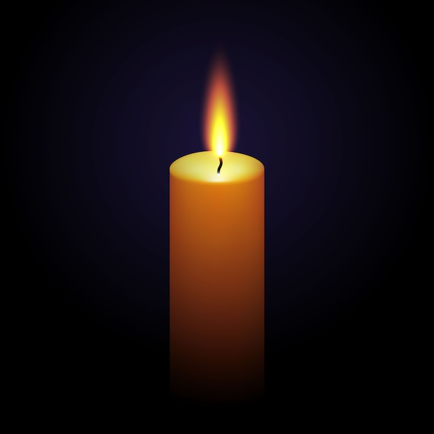 Realistic paraffin burning candle isolated on black Premium Vector