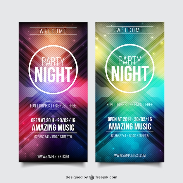Realistic Party Flyer Template Pack Vector | Free Download