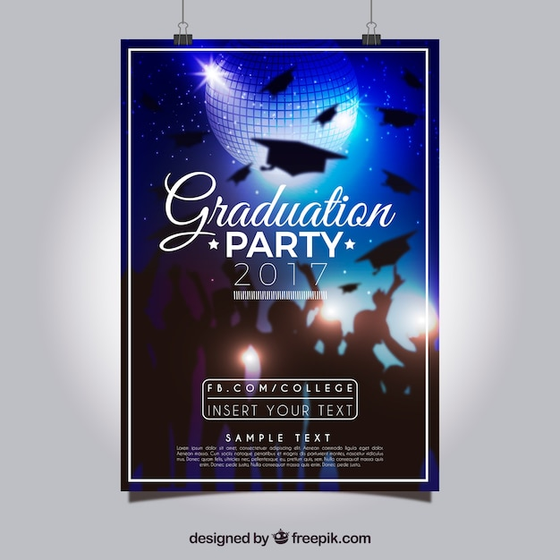Realistic Party Poster With Graduation Caps Vector