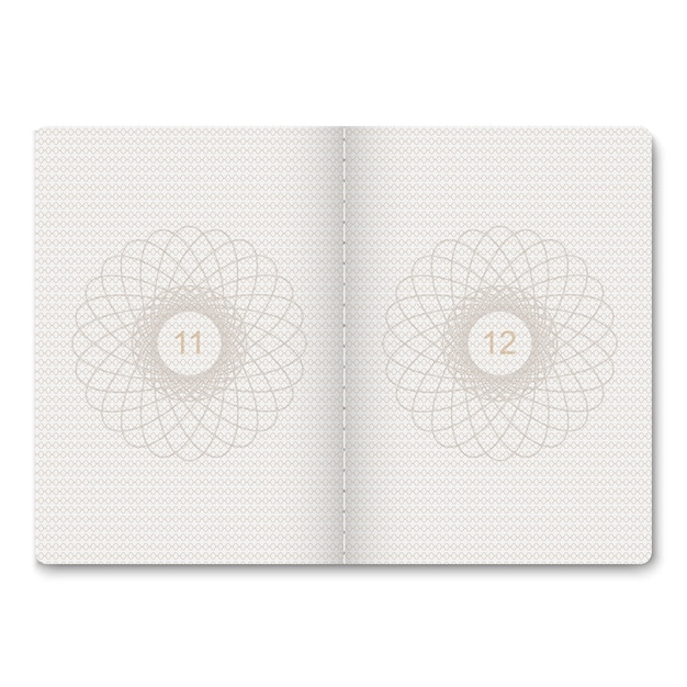 Realistic passport blank pages for stamps. empty passport with watermark. Premium Vector