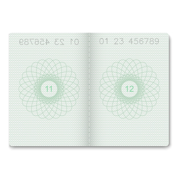Realistic passport blank pages for stamps. Premium Vector