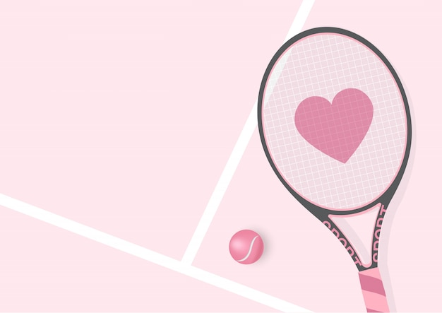 Realistic pastel pink racket  with heart and tennis ball Premium Vector