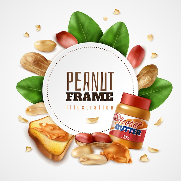Realistic peanut butter frame composition with editable text inside round frame with leaves and arachis nuts Free Vector
