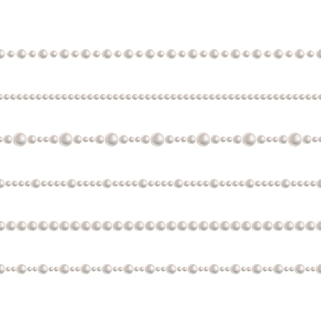 Realistic pearl bead chain. vector set of realistic seamless pattern Premium Vector
