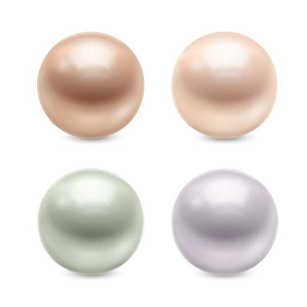 Realistic pearls set Free Vector