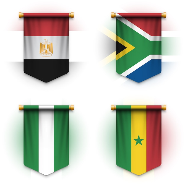 Realistic pennant flag of egypt, south africa, nigeria and senegal Premium Vector