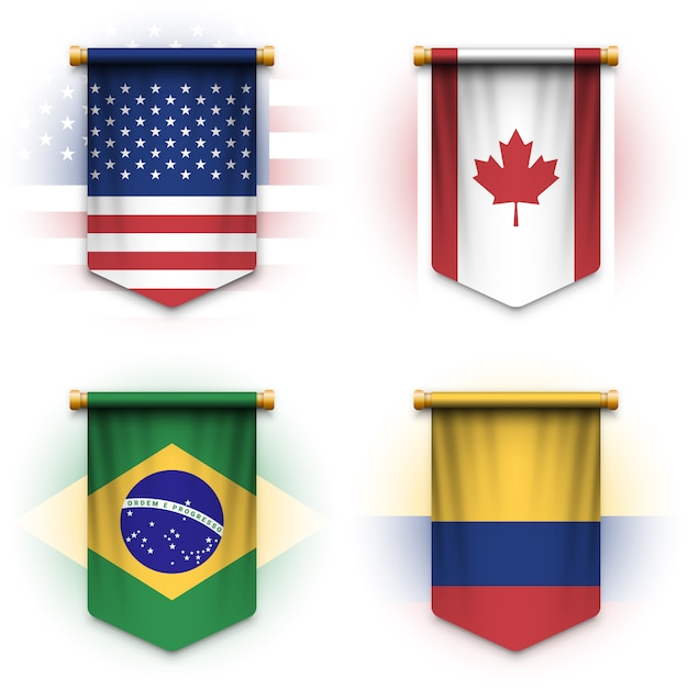 Realistic pennant flag of united states of america, canada, brazil and colombia Premium Vector