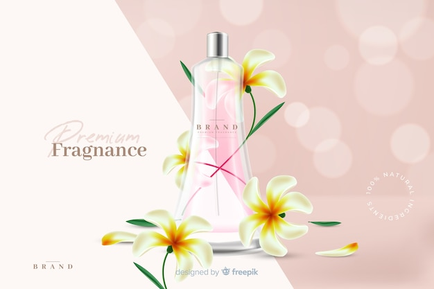 Realistic perfume ad with flowers Free Vector