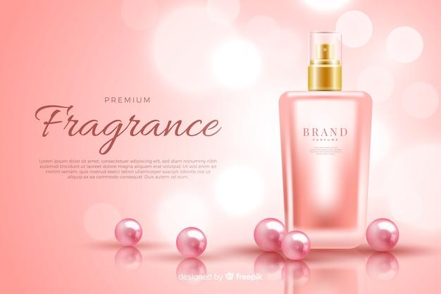 Realistic perfume bottle ad template Free Vector