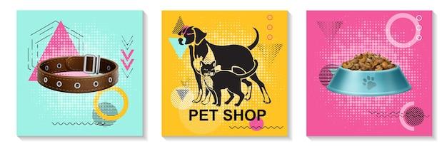 La raccolta realistica delle carte di cura degli animali domestici con la ciotola del collare del cane del gatto piena di cibo su sfondi geometrici alla moda colorati ha isolato l'illustrazione Vettore gratuito
