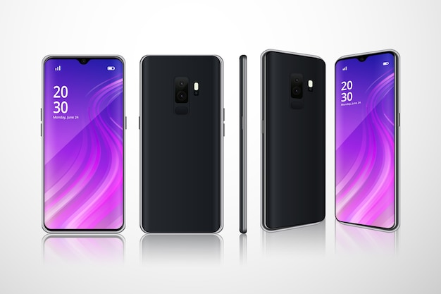 Realistic phones in different views Free Vector