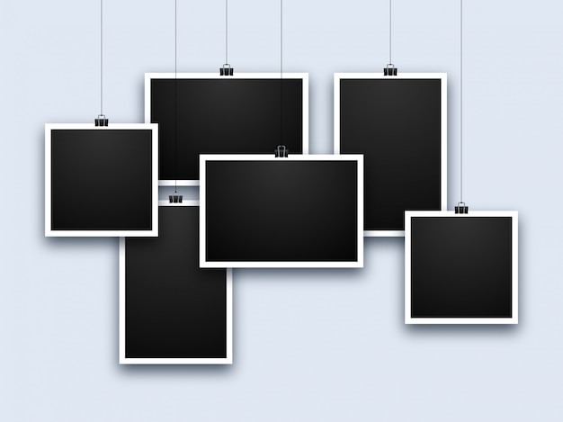 Realistic photo frame collage Premium Vector