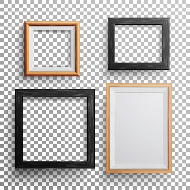 Realistic photo frame square Premium Vector