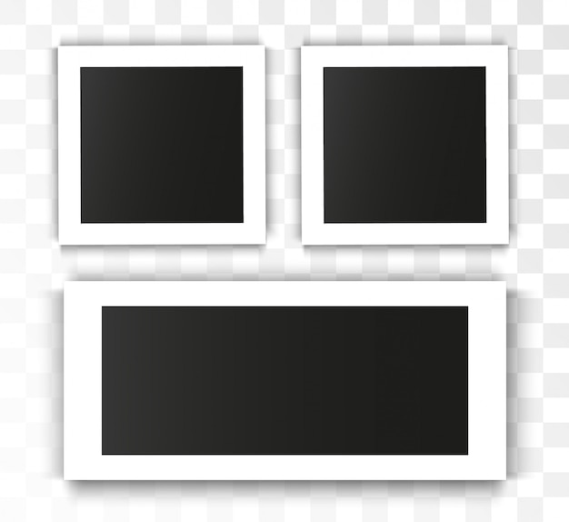 Realistic  photo frame on transparent background. set of photo Premium Vector