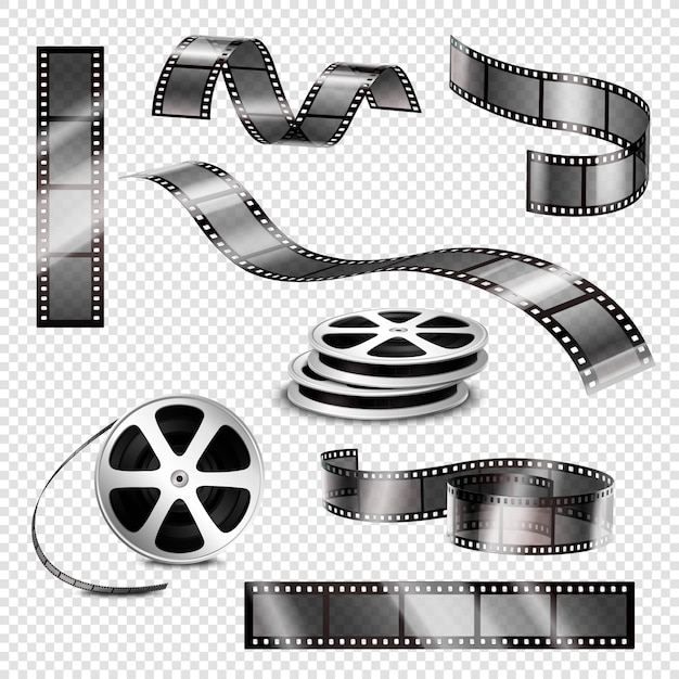 Realistic photographic strips and film reels Free Vector